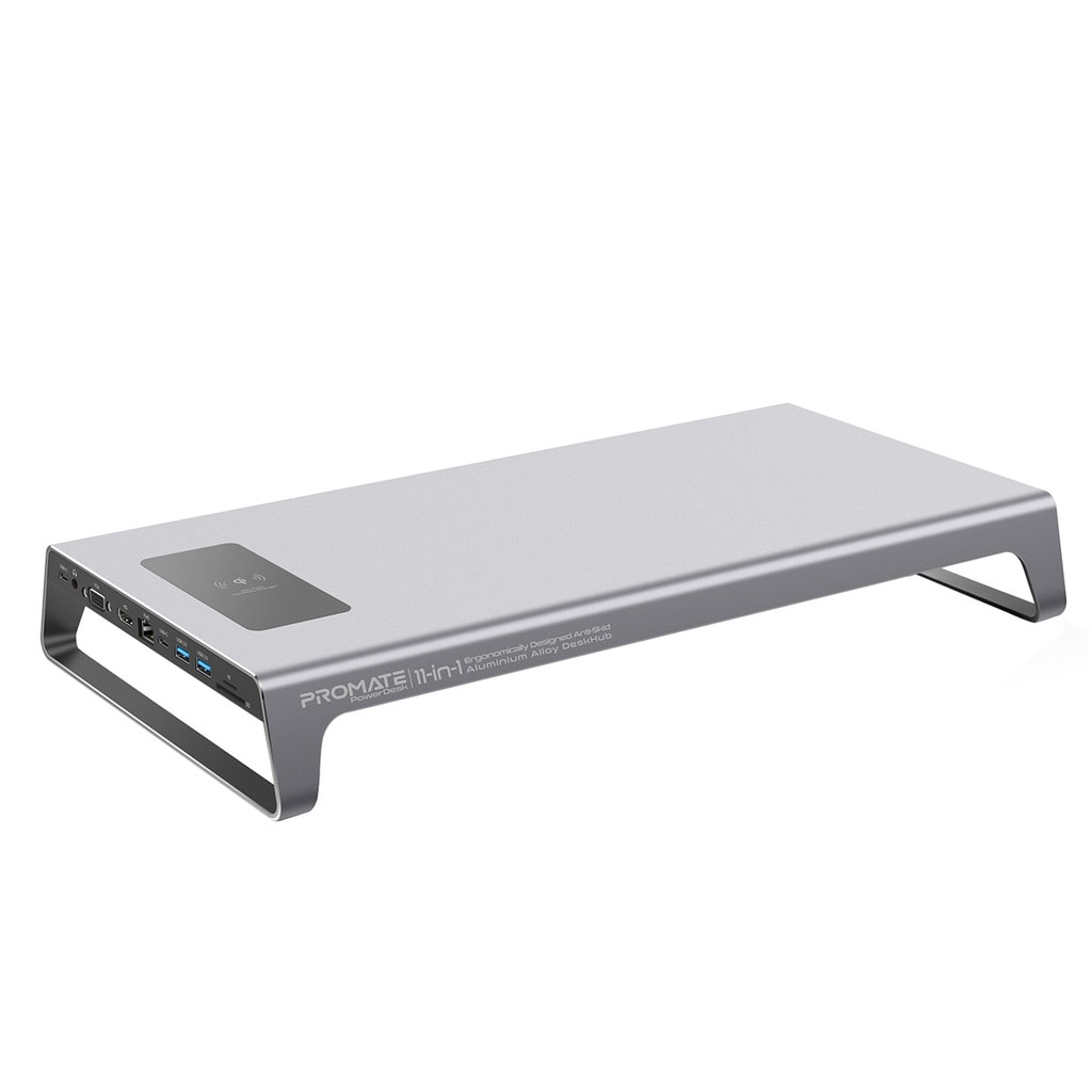 Promate USB-C Laptop Docking Station Monitor Stand, 11-in-1 Aluminium DeskHub with 87W USB-C Power Delivery, 10W Qi Wireless Charger, 4K HDMI Port, Ethernet Port, 2 USB 3.0, VGA, Aux Port and SD/MicroSD Slot, PowerDesk Grey