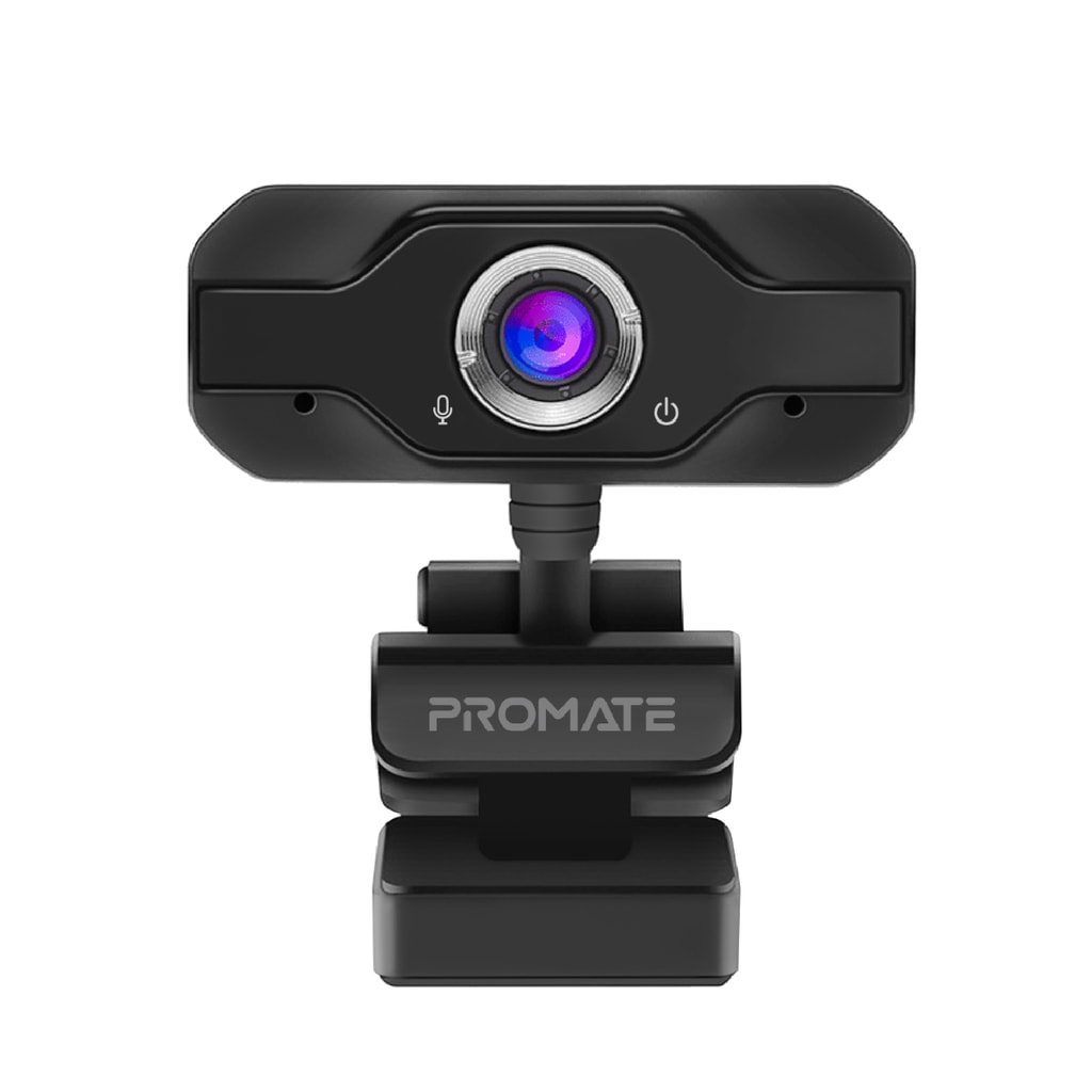 Promate Full HD Webcam 1080P, Professional Widescreen Video Call and Recording USB Webcam with Noise Reduction Stereo Mic, 120 Degree Wide Angle Camera and Adjustable Tripod Stand for PC, iMac, Laptops, Zoom, Skype, ProCam-1