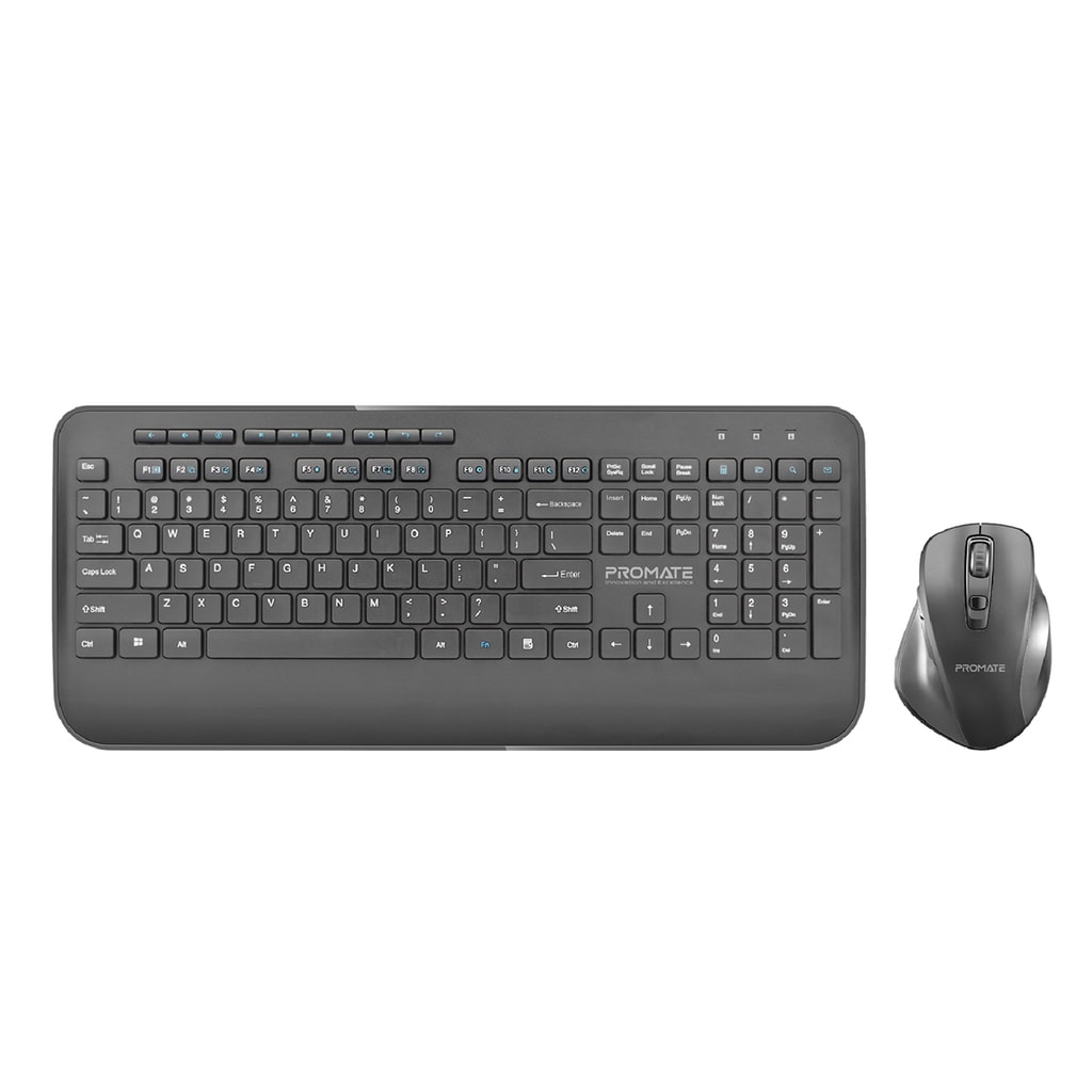 Promate Wireless Keyboard and Mouse Combo, Ergonomic Sleek 2.4Ghz Full-Size Wireless Keyboard with Palm Rest and 1600 DPI Mouse, Nano USB Receiver and Auto-Sleep Function for PC, Desktops, Windows, IOS, ProCombo-8 English
