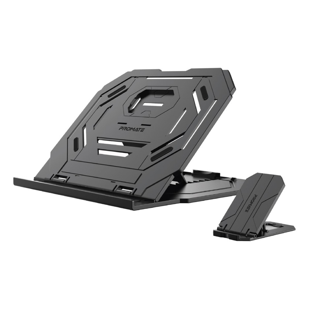 Promate Laptop Stand, 2-In-1 Foldable Laptop and Smartphone Riser Stand with 360 Degree Rotatable Base, Multi-Angle Adjustable Height and Anti-Slip Grip for Laptops, Smartphone, Notebooks, ProCooler-1