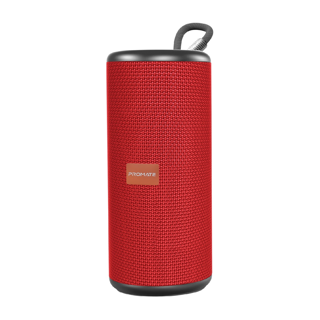 Promate Wireless Speaker, Premium 360 Degree Immersive Sound Bluetooth Speaker with 10W Loud HD Audio, Built-In Mic, 8H Long Playtime and AUX Port for All Bluetooth Enabled Devices, Pylon Red