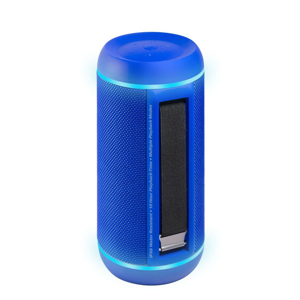 Promate True Wireless Speaker, Water-Resistant IPX6 Portable Indoor/Outdoor 30W Wireless Stereo with Mic, FM Radio, TF Card Slot, USB Port, Audio Jack and Built-In 6600mAh Power bank, Silox-Pro Blue