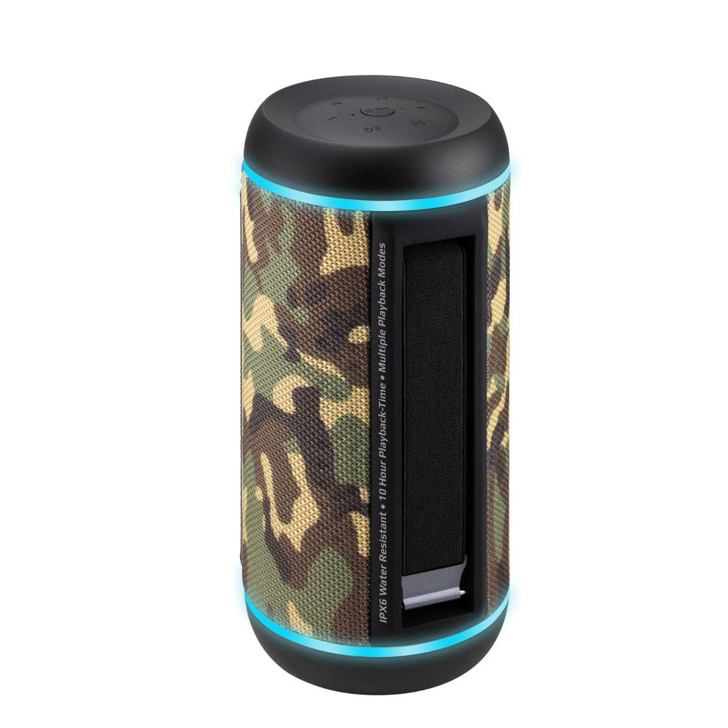 Promate True Wireless Speaker, Water-Resistant IPX6 Portable Indoor/Outdoor 30W Wireless Stereo with Mic, FM Radio, TF Card Slot, USB Port, Audio Jack and Built-In 6600mAh Power bank, Silox-Pro Camouflage