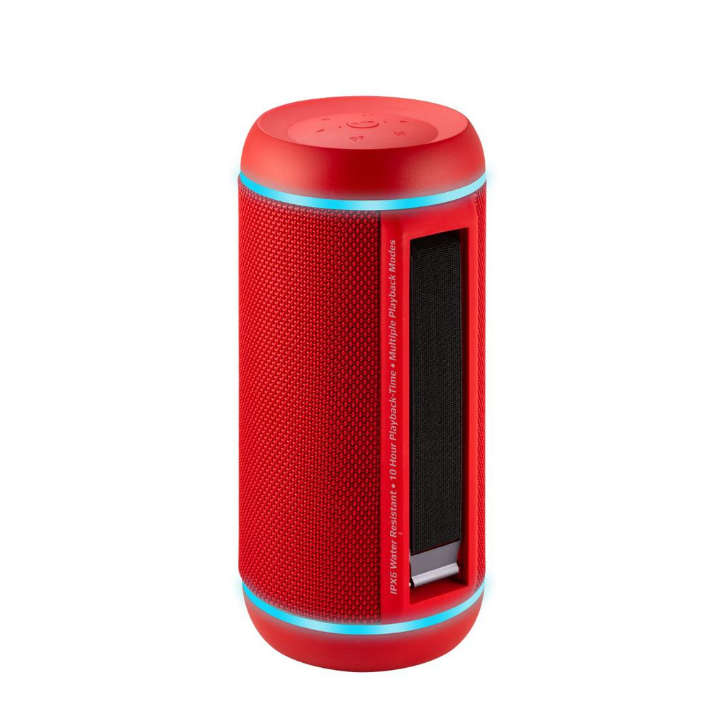 Promate True Wireless Speaker, Water-Resistant IPX6 Portable Indoor/Outdoor 30W Wireless Stereo with Mic, FM Radio, TF Card Slot, USB Port, Audio Jack and Built-In 6600mAh Power bank, Silox-Pro Red