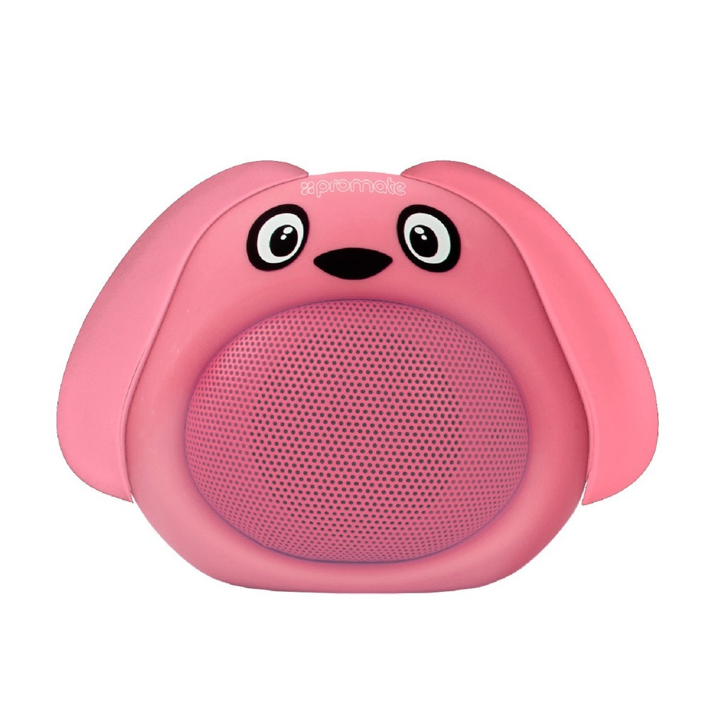 Promate Bluetooth Speaker, Portable Wireless Kids Bluetooth V4.1 Speaker with HD Sound Quality, Hands-free call function and Cute Dog Design for Bluetooth Enabled Devices, Snoopy Pink