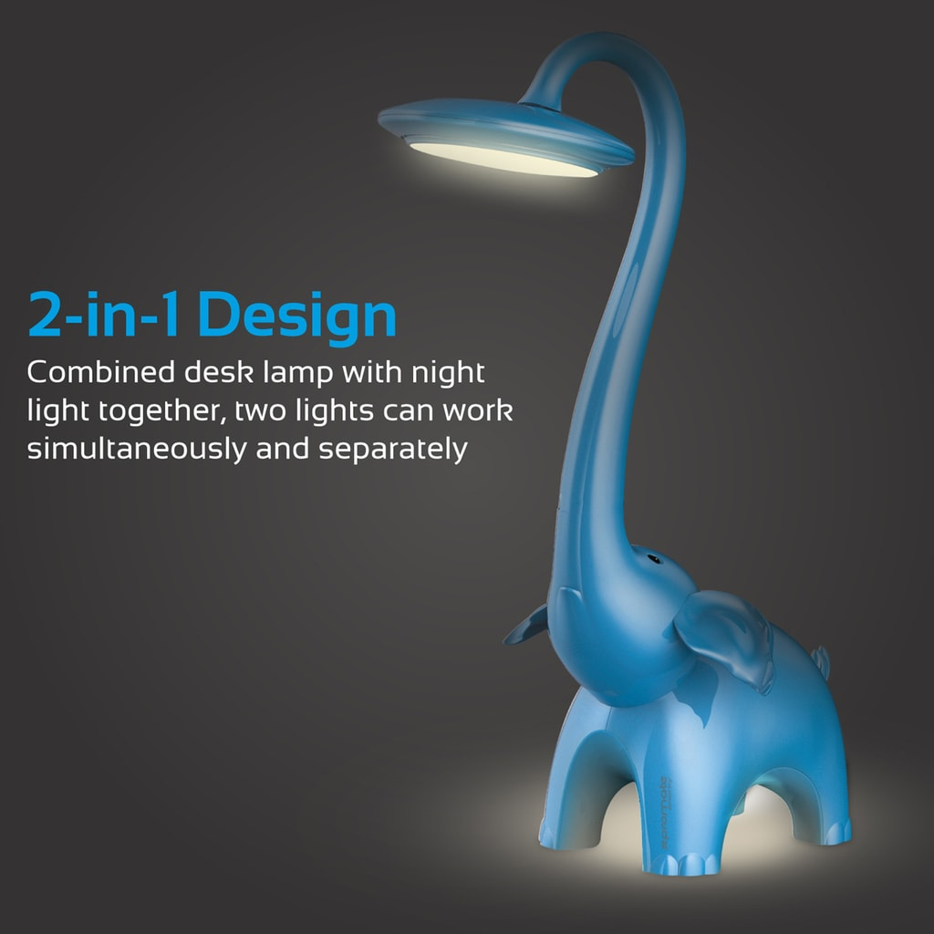 Promate LED Night Light, 2-in-1 Portable Touch Sensitive Kids Table and Night LED Lamp with 3 Lightning Mode, 3 Color and Adjustable Neck Light for Studying, Reading, Home, Snorky Blue