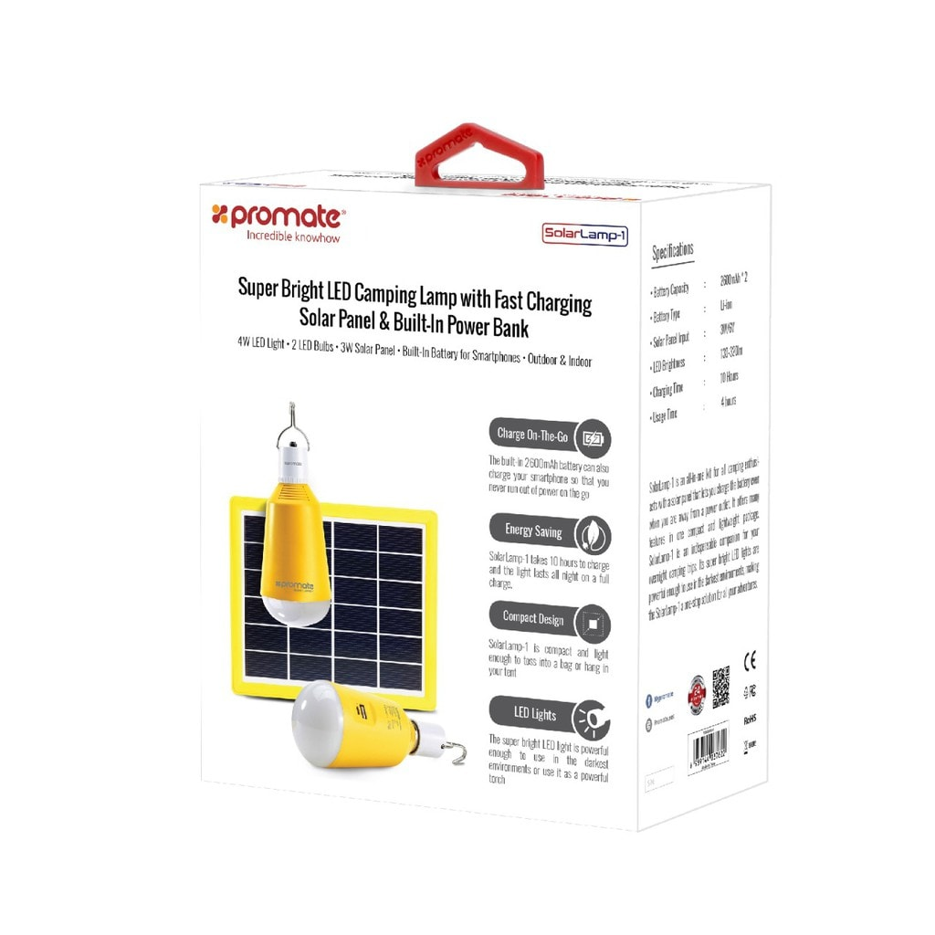 Promate Solar LED Camping Light, Portable USB Rechargeable 3W Solar Panel Powered 2 LED Light Lamp with Built-In 2600 Power Bank, Hanging Hook and 150 Lumen Bright LED Light for Tent, Hiking, Fishing, SolarLamp-1