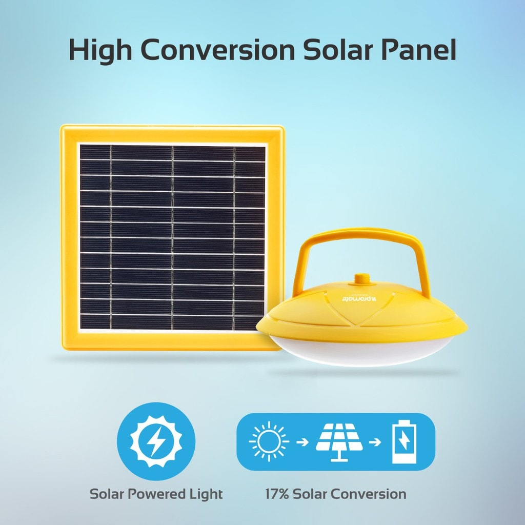 Promate Solar Light Outdoor, Portable USB Rechargeable 3W Solar Panel Powered 2 LED Light Lamp with Built-In 2600 Power Bank and 200 Lumen Bright LED Light for Tent, Hiking, Fishing, SolarLamp-2