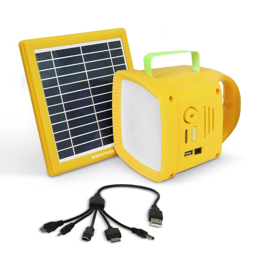 Promate Solar Panel LED Light, 3-In-1 Outdoor Bright 90lm LED Light with Solar Panel, Built-In FM Radio, 5W Wireless Speaker, 4400mAh Power Bank and USB Charging Port for Tent, Camping, Hiking, SolarTorch-1