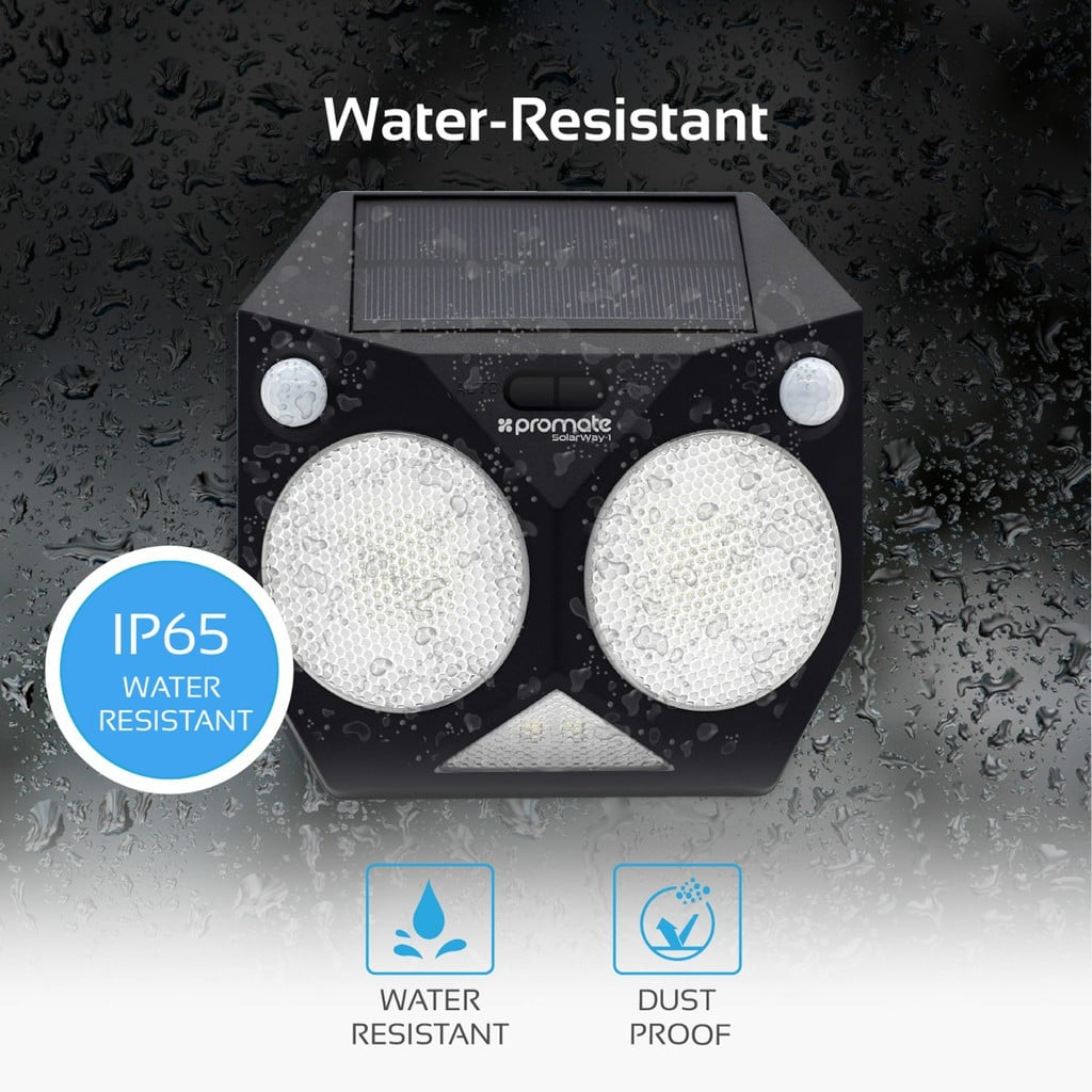 Promate Solar Light, Intelligent Dual Motion Sensor Solar Powered Wireless Wall Light with IP65 Water-Resistant, 8 LED Colour Modes and Dust-Proof for Back Yard, Garden, Driveway, SolarWay-1