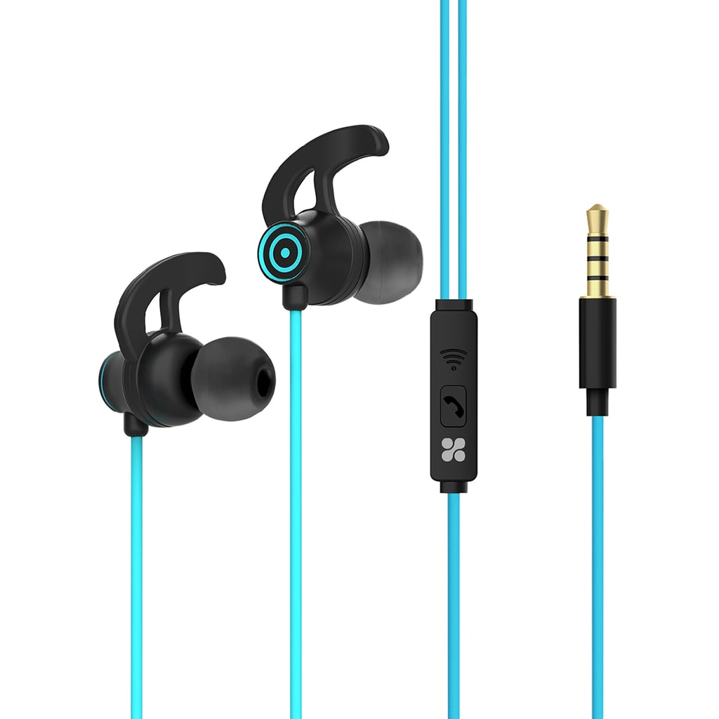 Promate In-Ear Wired Earbuds, Premium 3.5mm HD Stereo Sound Earphones with Built-In Mic, Sweat Resistant, Anti-Tangled Cords and Passive Noise Cancelling Headset for Music, Gym, Running, Laptops, Swift.Blue