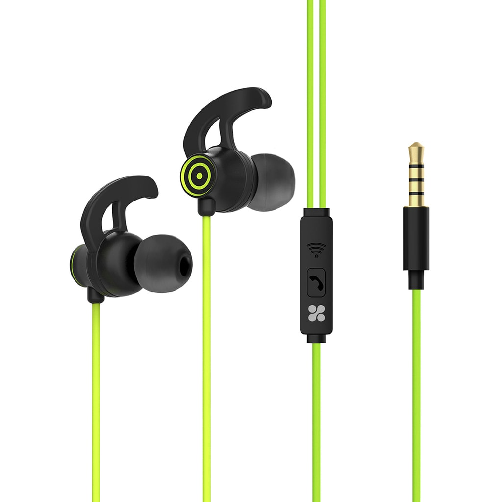 Promate In-Ear Wired Earbuds, Premium 3.5mm HD Stereo Sound Earphones with Built-In Mic, Sweat Resistant, Anti-Tangled Cords and Passive Noise Cancelling Headset for Music, Gym, Running, Laptops, Swift.Green