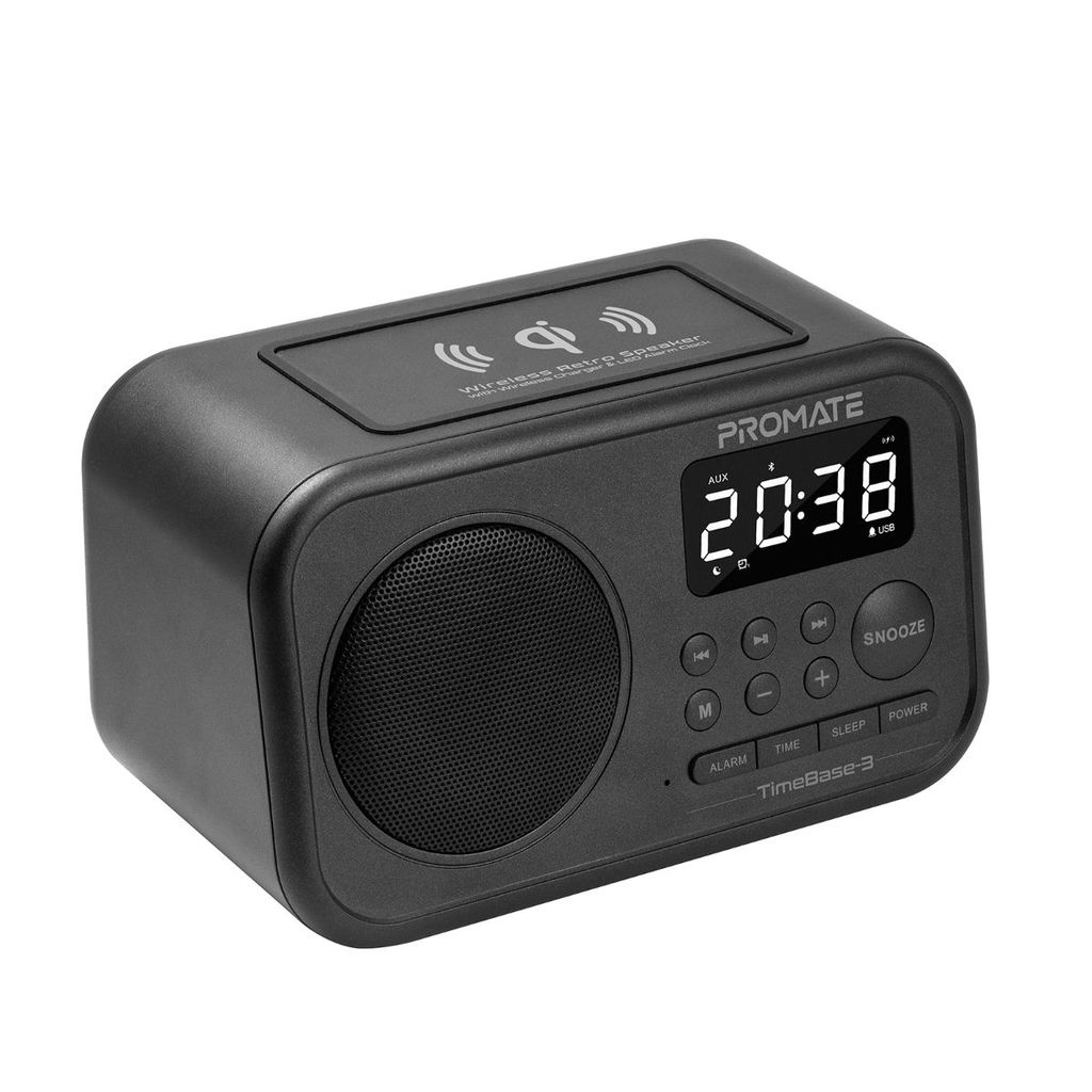 Promate Qi Wireless Bluetooth Charger Speaker, Portable Wireless Charging Pad with 5W HD Speaker, USB Media Port, Alarm Clock, LED Time Display, Aux-in, FM Radio, USB Charging Port and Mic, TimeBase-3 Black