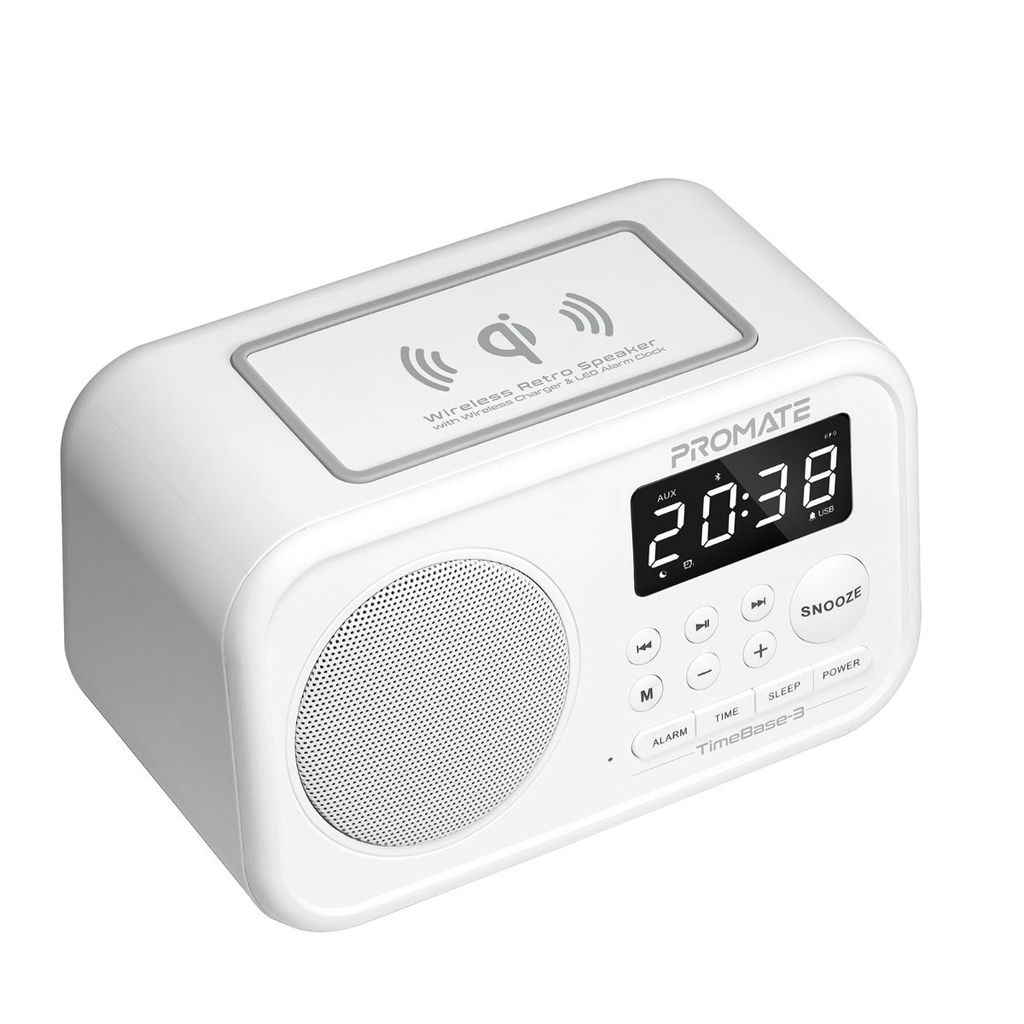 Promate Qi Wireless Bluetooth Charger Speaker, Portable Wireless Charging Pad with 5W HD Speaker, USB Media Port, Alarm Clock, LED Time Display, Aux-in, FM Radio, USB Charging Port and Mic, TimeBase-3 White