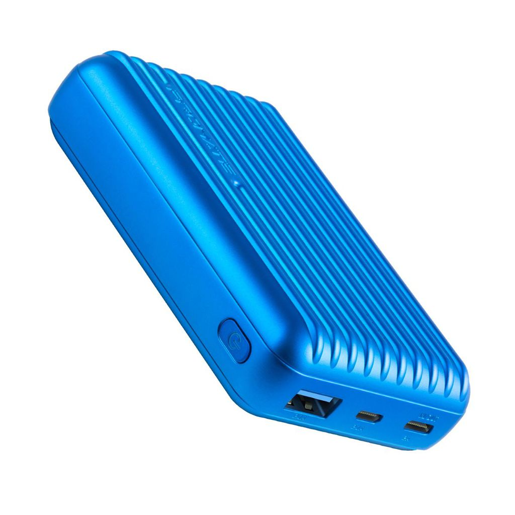 Promate Type-C Power Bank, Powerful 10000nAh Battery Charger with Type-C and Micro USB Input and Ultra-Fast 2.1A USB Port, USB-C Output, Automatic Voltage Regulation for USB and Type-C Enabled Devices, Titan-10C Blue