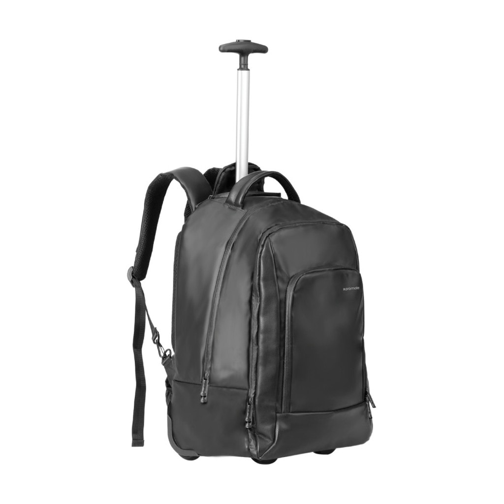 Promate Laptop Trolley Bag, Business Styled High Capacity Trolley Bag with Adjustable Handle, Secure Multiple Storage and Water-Resistant Nylon Fabric for Business, Travel, 15.6 Inch Laptop, Transit-TR Black