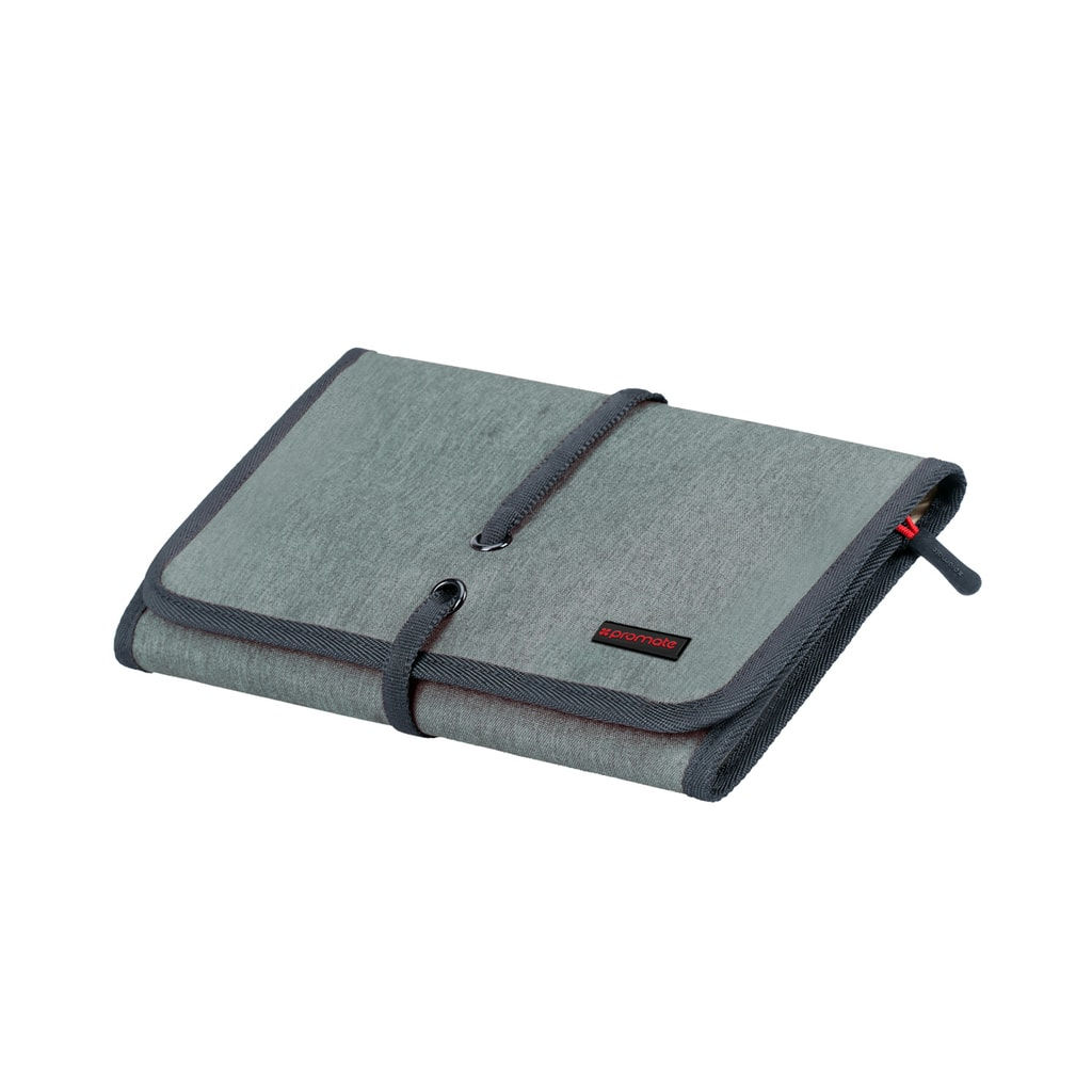 Promate Accessories Organiser, Multi-Purpose Electronic Accessories Pouch with Water-Resistance and 14 Storage Pocket for Cable, Card, Hard Drive, Pen, Adapter, Travelpack-L Grey