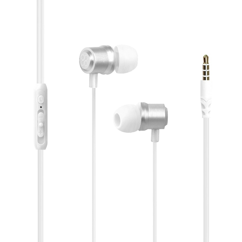 Promate Wired Earphone, Premium Magnetic Earbuds Stereo Headphones with Microphone, Built-In Volume Control, 1.2m Tangle Free Wire and Noise Cancelling for Smartphones, Tablets, Laptop, iPod, Travi.White