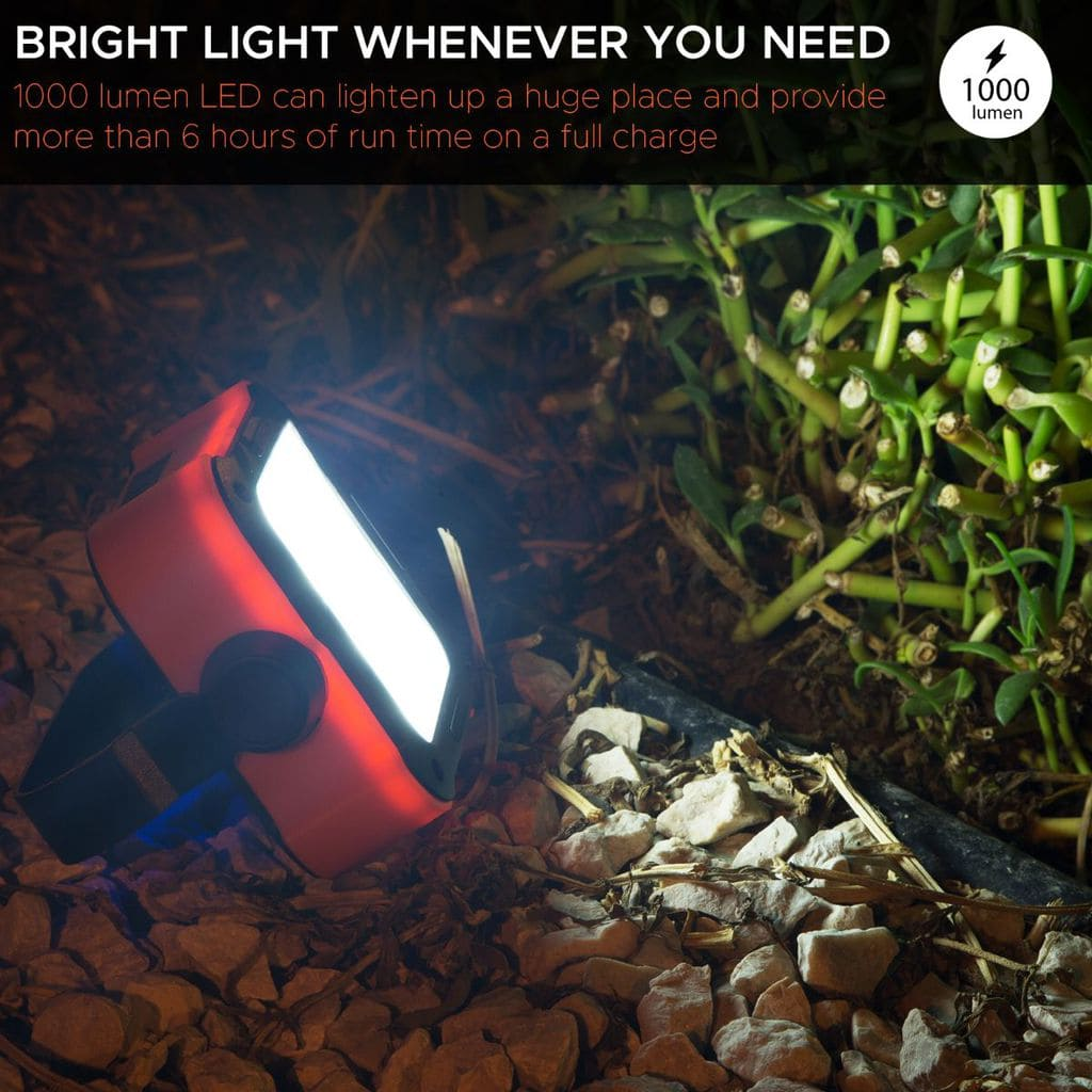 Promate Outdoor LED Flood Light, Rechargeable IP54 Dust and Water-Resistant 1000 Lumen LED Light with 10,000mAh Built-In Power Bank and USB Charging Port Emergency, Hiking, Camping, TrekMate-1