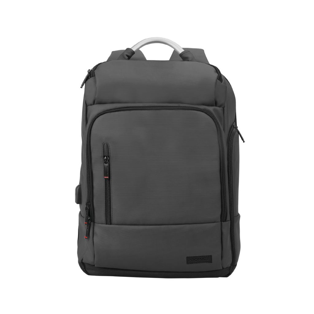 Promate Laptop Backpack, Multi-Storage Water-Resistant 17.3 Inch Laptop Bag with Anti-Theft Pockets, Padded Adjustable Strap, Insulated Side Pocket and USB Charging Port, TrekPack-BP Black