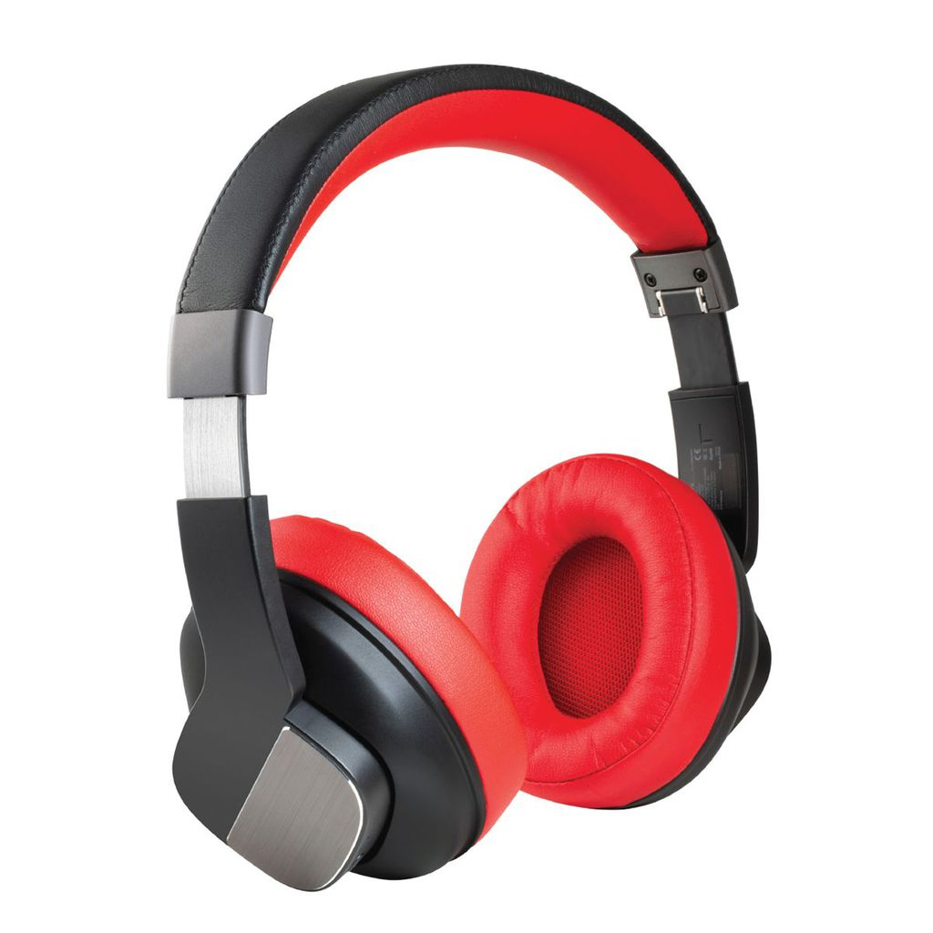 Promate Active Noise Cancelling Headphones, Professional Wireless Foldable Over-Ear Hi-Fi Sound Headphone with Mic, Soft Earpads, 20Hrs Playtime and 3.5mm Wired Mode for Bluetooth and Aux Devices, TrueBeats Red