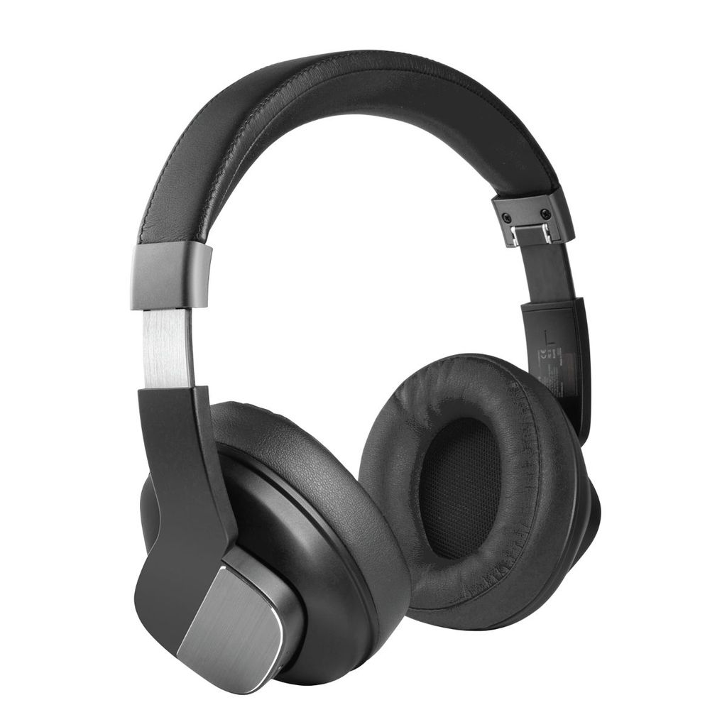 Promate Active Noise Cancelling Headphones, Professional Wireless Foldable Over-Ear Hi-Fi Sound Headphone with Mic, Soft Earpads, 20Hrs Playtime and 3.5mm Wired Mode for Bluetooth and Aux Devices, TrueBeats Black