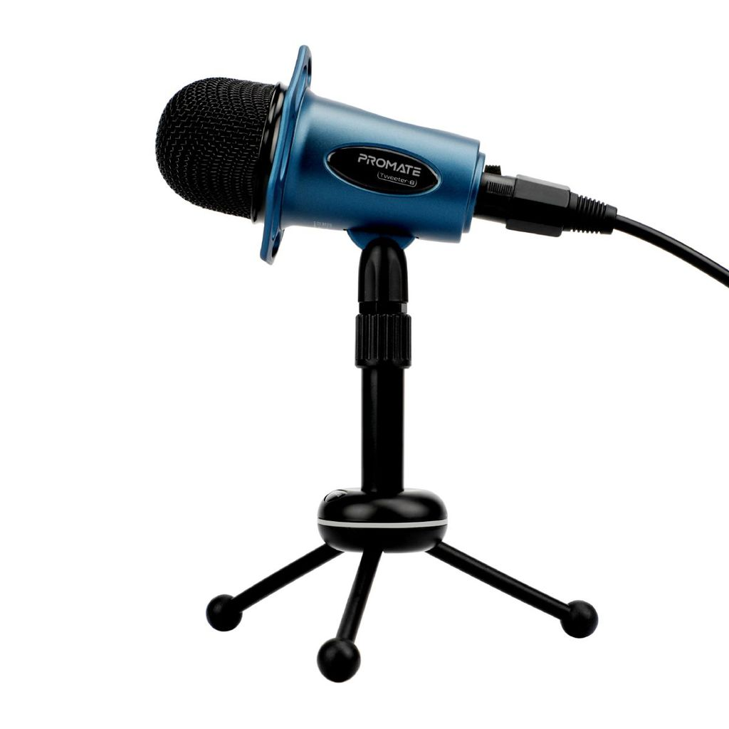 Promate Desktop Microphones, 3.5mm Professional Condenser Recording Podcast Microphone with Built-In Volume Control and Tripod Stand for PC, Laptop, Skype, Vocal Recording, Tweeter-8