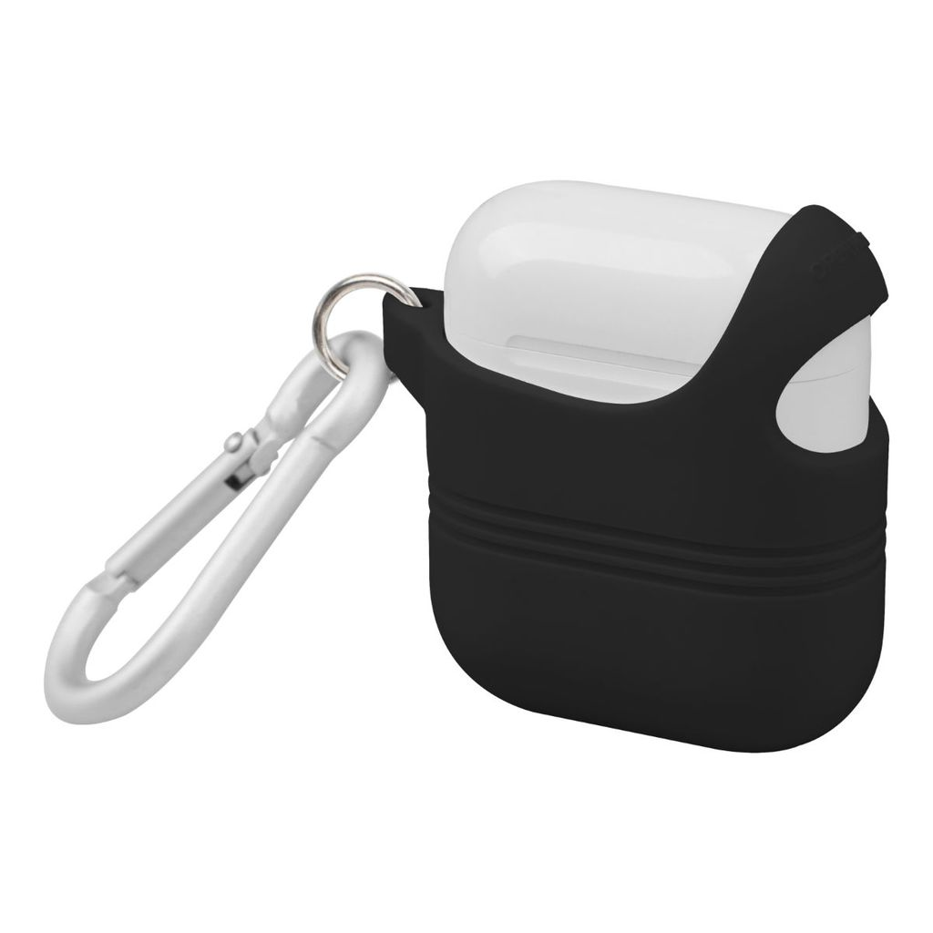 Promate Apple AirPods Case, Stylish Semi-Body Soft Slim Fit Silicone AirPods Cover with Secure Lid Strap, Shockproof Protection and Quick-Snap Carabiner Access for Apple AirPods and AirPods 2, VeilCase Black