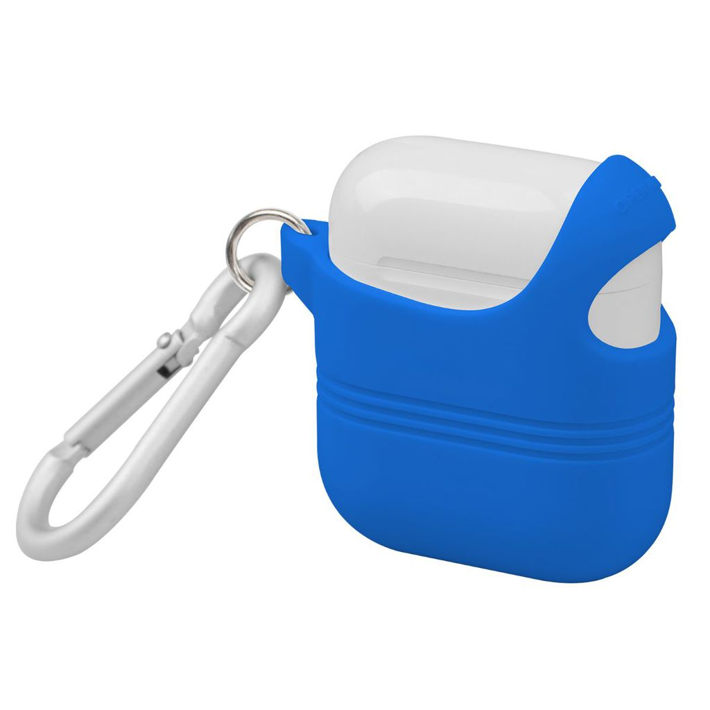 Promate Apple AirPods Case, Stylish Semi-Body Soft Slim Fit Silicone AirPods Cover with Secure Lid Strap, Shockproof Protection and Quick-Snap Carabiner Access for Apple AirPods and AirPods 2, VeilCase Blue
