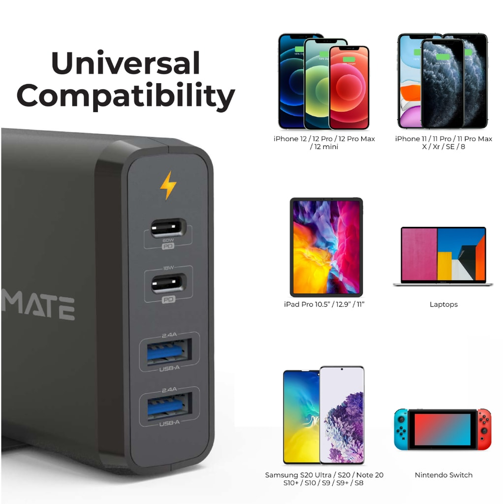 Promate USB-C Laptop Charger, Universal 4-Port Wall Charger With 60W and 18W Dual USB-C  Power Delivery Port with Dual 2.4A USB Port and Voltage Regulation for MacBook Pro, iPhone 12, 12 Pro, iPad Pro, CenterPort-2PD75