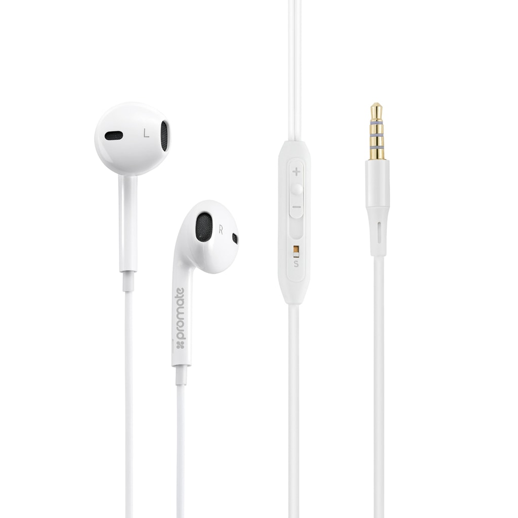 Promate Earphones, In-Ear 3.5mm Universal Crystal Sound and Noise Isolating Earbuds with In-Line Remote Volume Control and Built-In Mic for Smartphones, PC, Tablets, Laptops, GearPod-IS2  WHITE