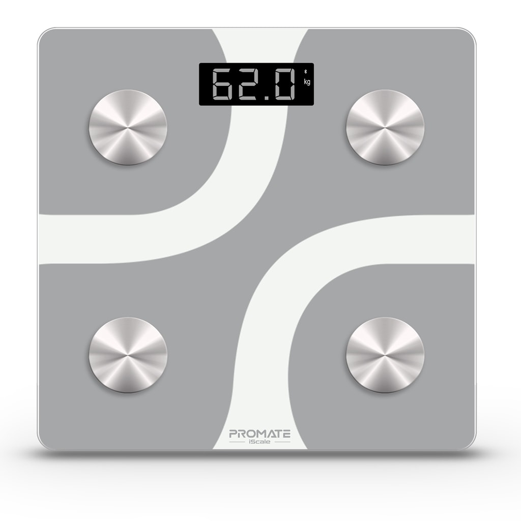 Promate Bluetooth Body Fat Scale, Smart BMI Digital Bathroom Weight Scale and 12 Body Composition Analyzer with Smartphone App for Body Weight, Muscle Mass, Water Percentage, BMR and More, iScale