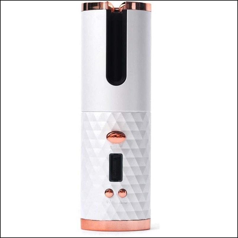 Cordless Hair Curler -USB Automatic Ceramic Rotating Hair Curler - White