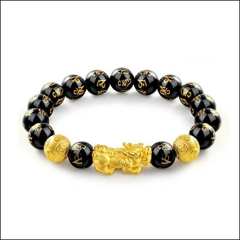 Natural Stone Black Obsidian Pixiu Bracelet