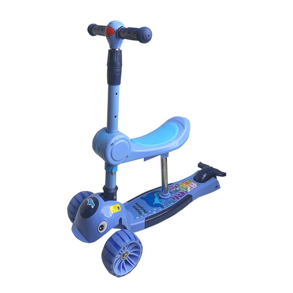 3-Wheeled Kick Scooter for Kids and Foldable Seat 2-in-1 Kid Scooter Adjustable Height Suitable for 2-10 Years Old Kid Scooter