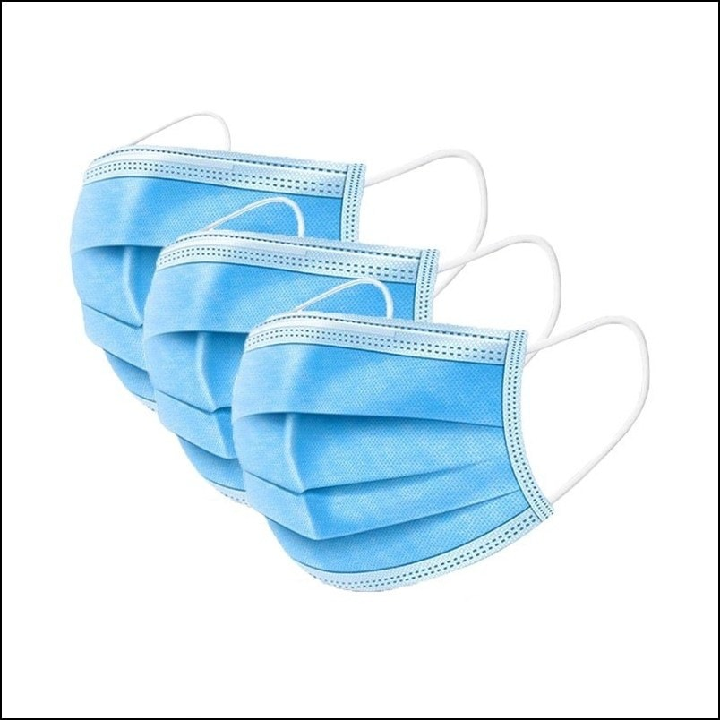 Non-woven 3 layers, anti-particle, anti-drip, anti-pollen, dust-proof, breathable (50pcs/pack)