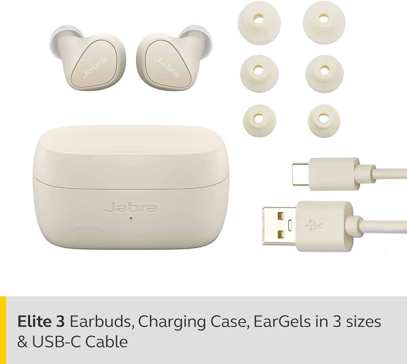 Jabra Elite 3 In Ear Wireless Bluetooth Earbuds – Noise Isolating True Wireless buds with 4 built-in Microphones for Clear Calls, Rich Bass, Customizable Sound, and Mono Mode - Light Beige