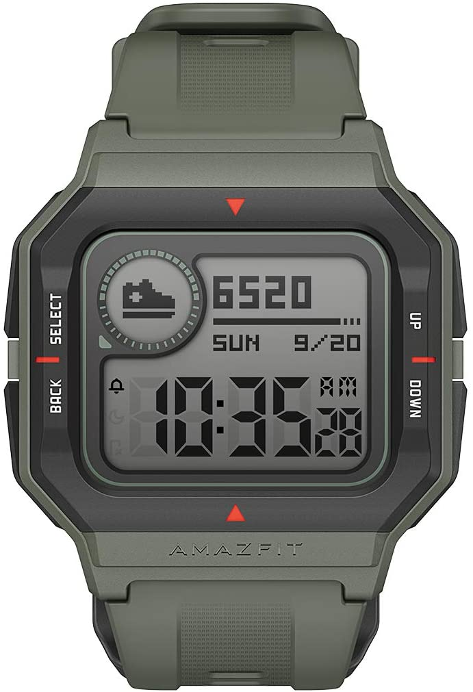 """Amazfit Neo Fitness Retro Smartwatch with Real-Time Workout Tracking, Heart Rate and Sleep Monitoring, 28-Day Battery Life, Smart Notifications, 1.2"""" Always-On Display, Water Resistant, Green"""