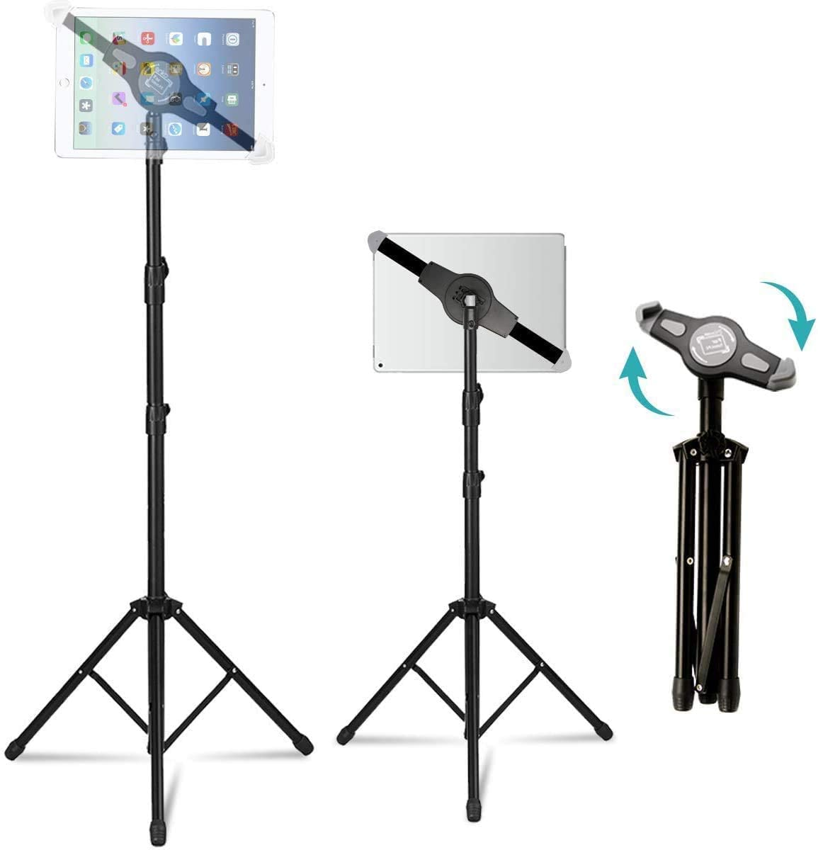 Padom IPad and Mobile Phone Tripod Stand, Height Adjustable 20 to 60 Inch with 360 Degree Rotating Tablet Holder for iPad Air,iPad Pro and More 9.5 to 14.5 Inch Tablets, Coming with Carrying Bag