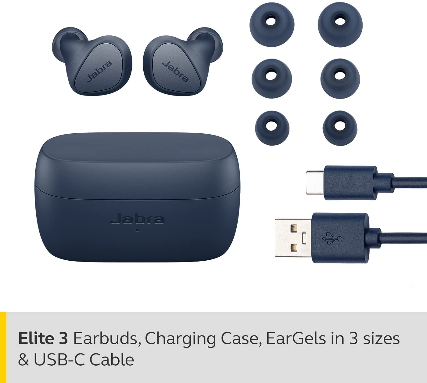 Jabra Elite 3 In Ear Wireless Bluetooth Earbuds – Noise isolating True Wireless buds with 4 built-in Microphones for Clear Calls, Rich Bass, Customizable Sound, and Mono Mode - Navy