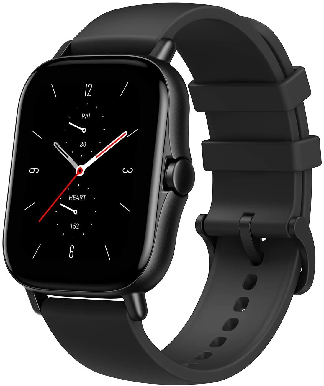 """Amazfit GTS 2 Smartwatch with Alexa Built-In, 1.65"""" AMOLED Display, Built-In GPS, 3GB Music Storage, 7-Day Battery Life, Bluetooth Phone Calls, 12 Sports Modes, Health Tracking, Water Resistant, Black"""