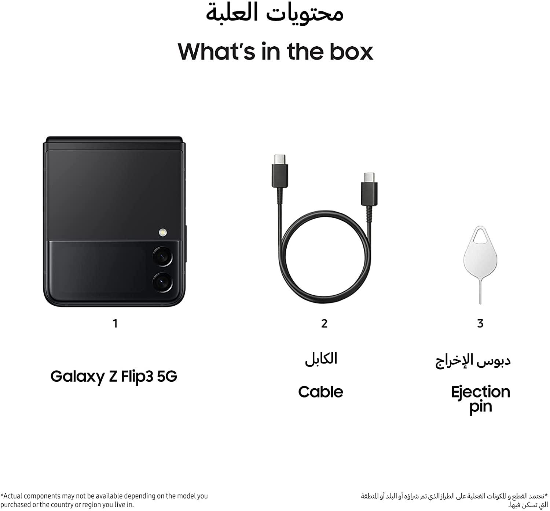 Samsung Galaxy Z Flip3 5G Single SIM and e-SIM Smartphone, 128GB Storage and 8GB RAM, Phantom Black