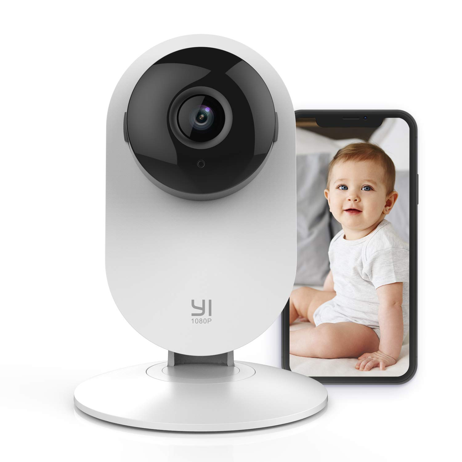 YI Baby Monitor with Camera and Audio HD WiFi Pet Cam, Sound Motion Human Detection, 2- Way Audio, Smartphone app, Night Vision, Nanny Elder, Works with Alexa, iOS, Android