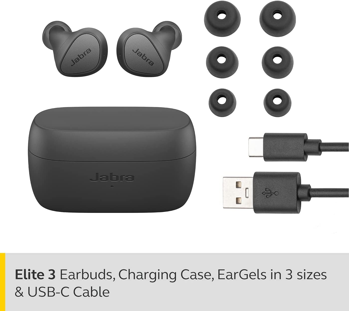 Jabra Elite 3 In Ear Wireless Bluetooth Earbuds – Noise isolating True Wireless buds with 4 built-in Microphones for Clear Calls, Rich Bass, Customizable Sound, and Mono Mode - Dark Grey