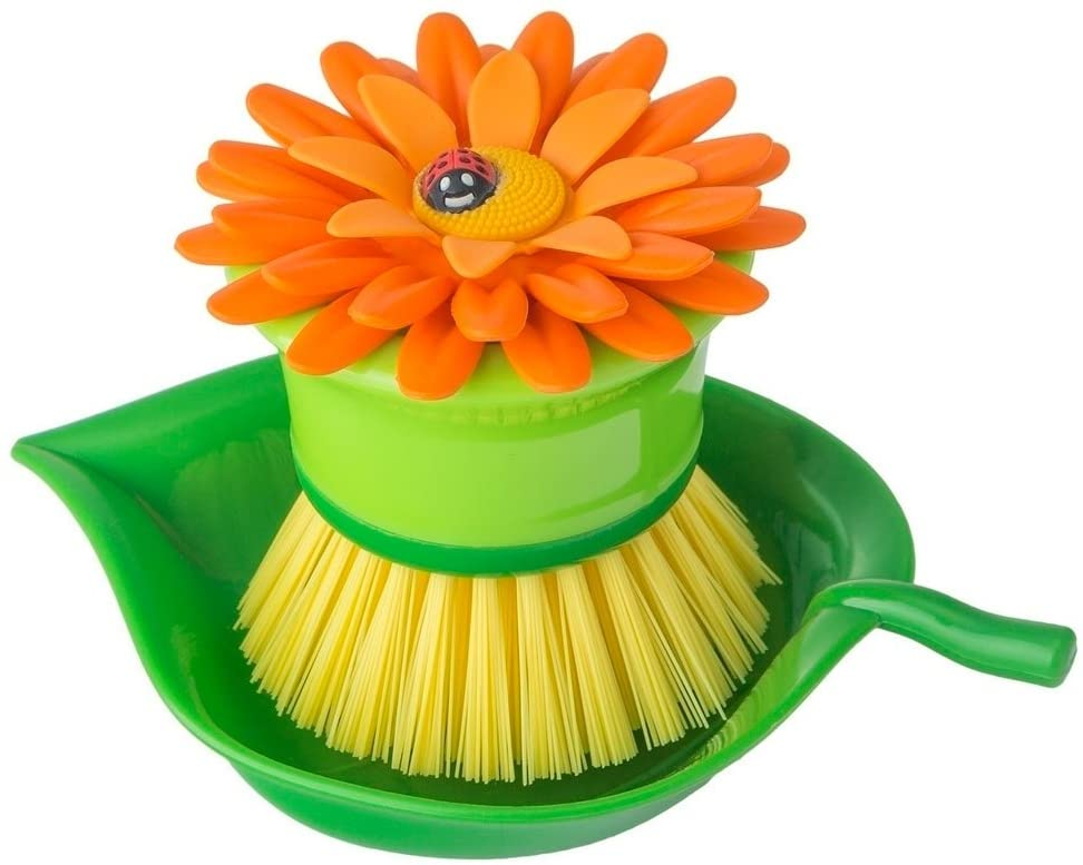 Vigar Flower Power Washing-Up Brush with Tray - Multi-Coloured