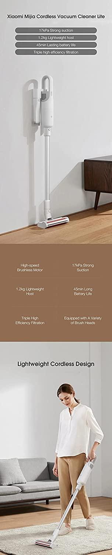 Xiaomi Mijia Lite Cordless Stick Handheld Vacuum Cleaner 17000Pa 2 Gear Suction Mode 220W Lightweight for Home Hard Floor Carpet Car Pet