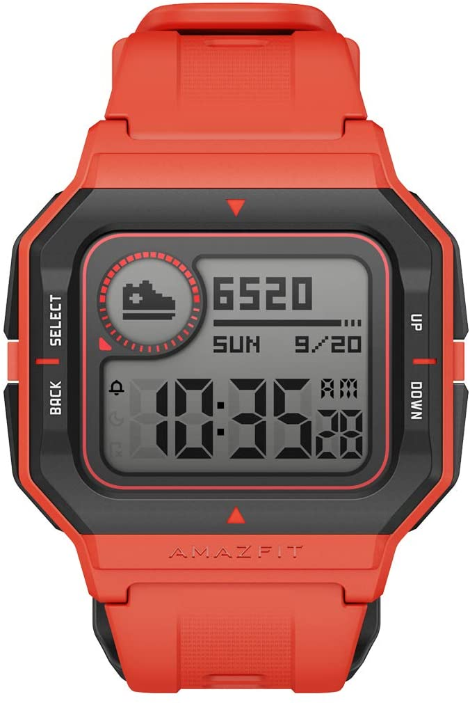 """Amazfit Neo Fitness Retro Smartwatch with Real-Time Workout Tracking, Heart Rate and Sleep Monitoring, 28-Day Battery Life, Smart Notifications, 1.2"""" Always-On Display, Water Resistant, Red"""