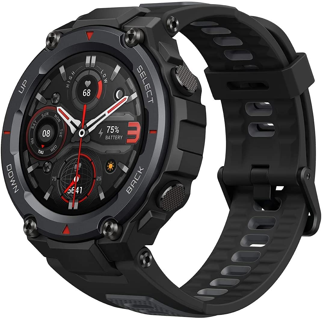 Amazfit T-Rex Pro Smartwatch Fitness Watch with Built-in GPS, Military Standard Certified, 18 Day Battery Life, SpO2, Heart Rate Monitor, 100+ Sports Modes, 10 ATM Waterproof, Music Control, Black