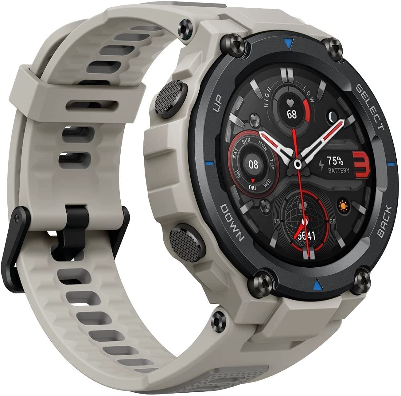 Amazfit T-Rex Pro Smartwatch Fitness Watch with Built-in GPS, Military Standard Certified, 18 Day Battery Life, SpO2, Heart Rate Monitor, 100+ Sports Modes, 10 ATM Waterproof, Music Control, Gray