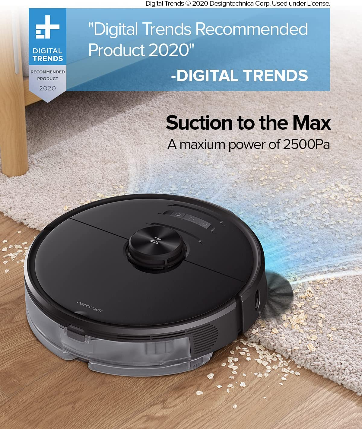 Roborock S6 MaxV Robot Vacuum Cleaner with Reactive AI and Lidar Navigation, 2500Pa Strong Suction, Intelligent Mopping Robotic Vacuum and Mop (Black)